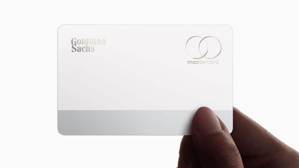 Goldman Sachs and Mastercard logos laser-etched on the reverse of the Apple Card. Image credit: Apple