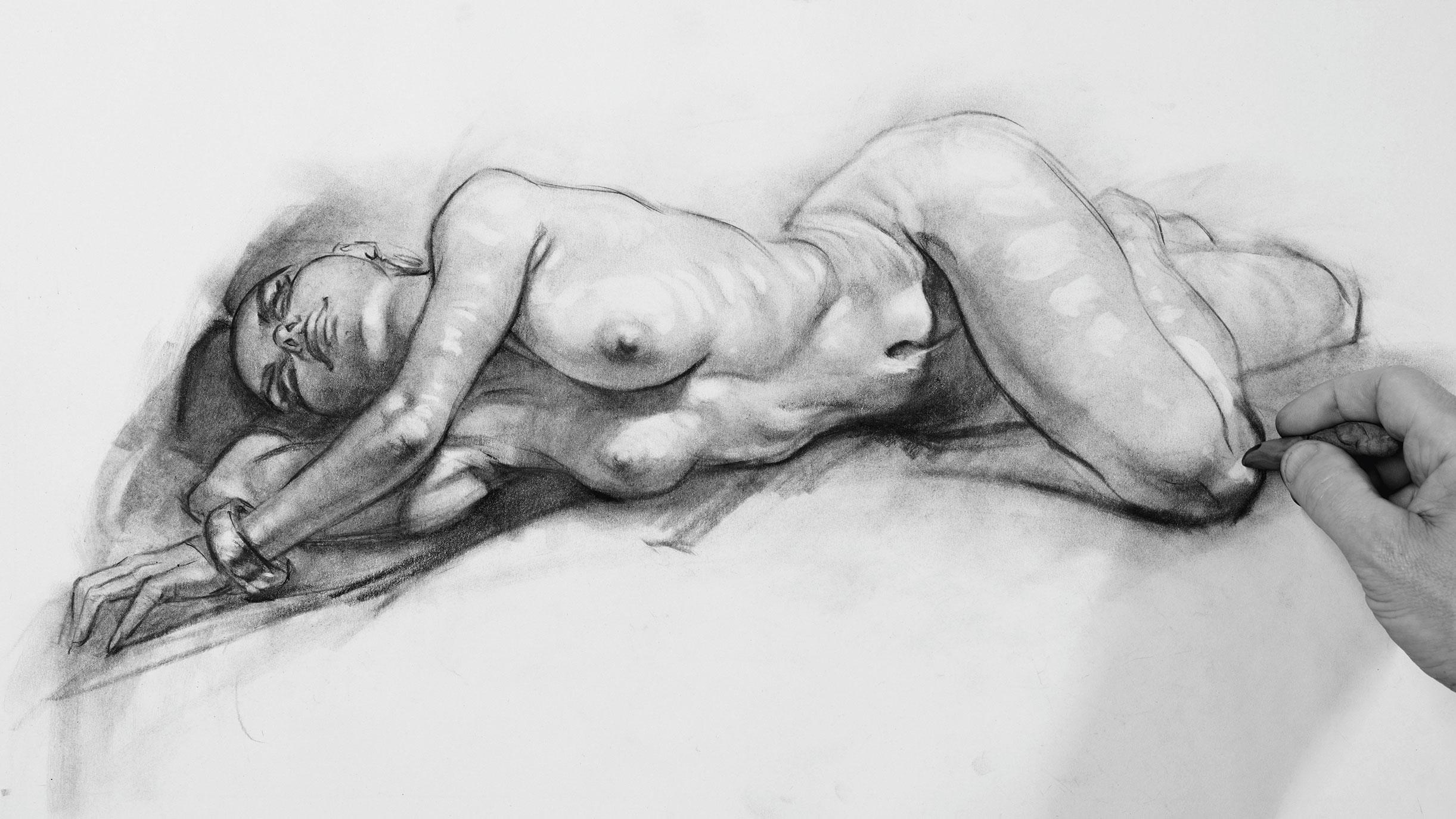 Charcoal figure with highlights added