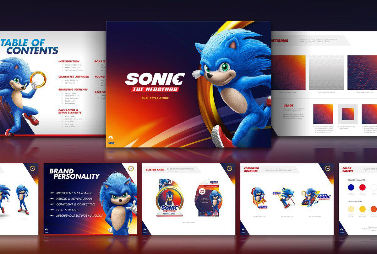 Samples from a potential Sonic the Hedgehog movie style guide deck