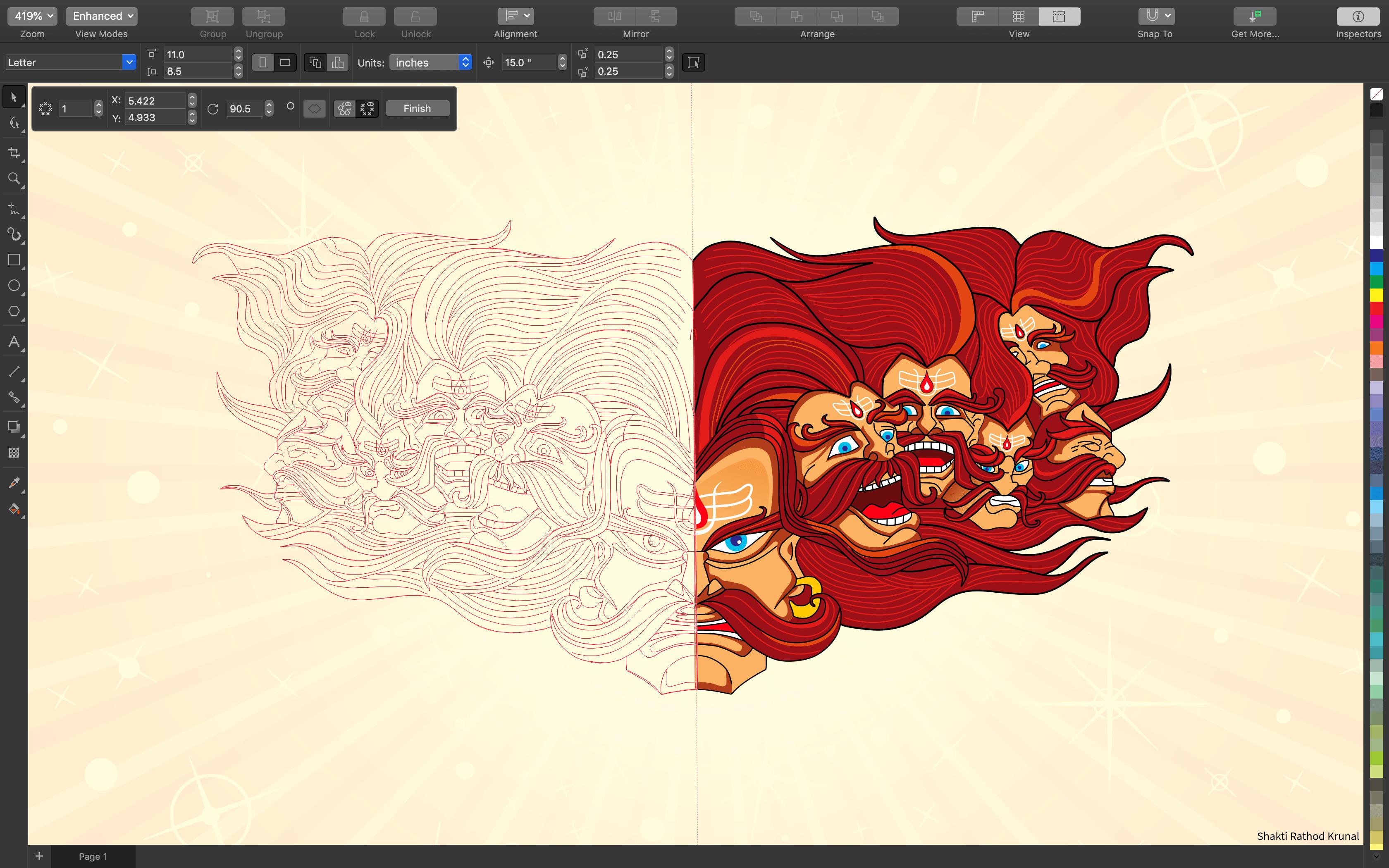 Work in progress illustration on CorelDRAW of a series of bearded man heads
