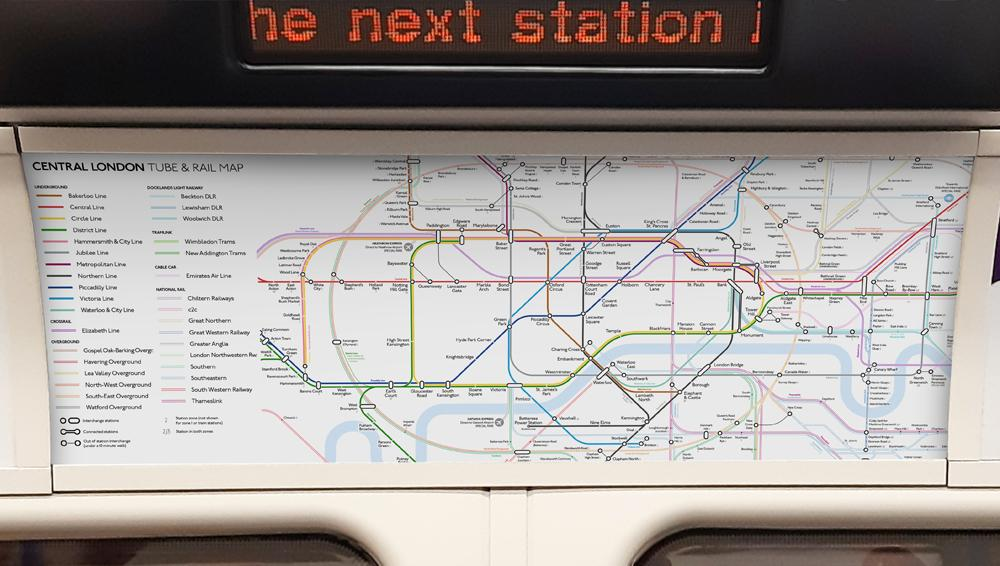 London Underground map design on train carriage wall