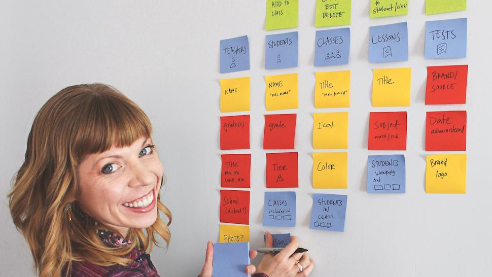 An image of UX expert Sophia V Prater – she is arranging coloured post-its and planning out object-oriented UX