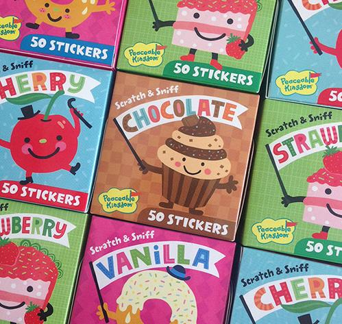 Stickers and packaging for Peaceable Kingdom by Linzie Hunter