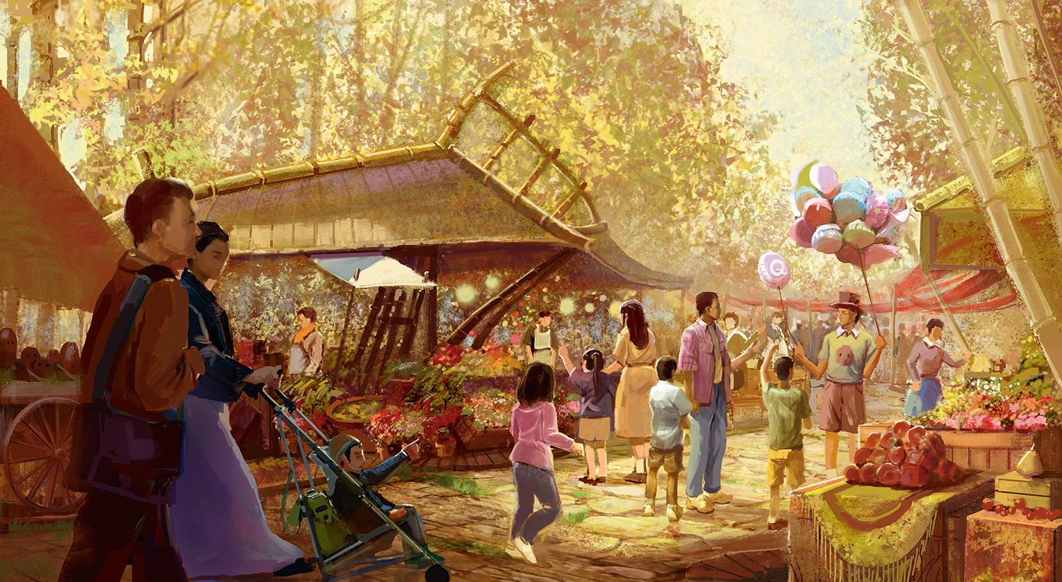Detailed illustration of market place of a theme park