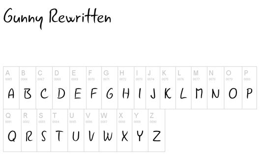 Free handwriting fonts: Gunny Rewritten