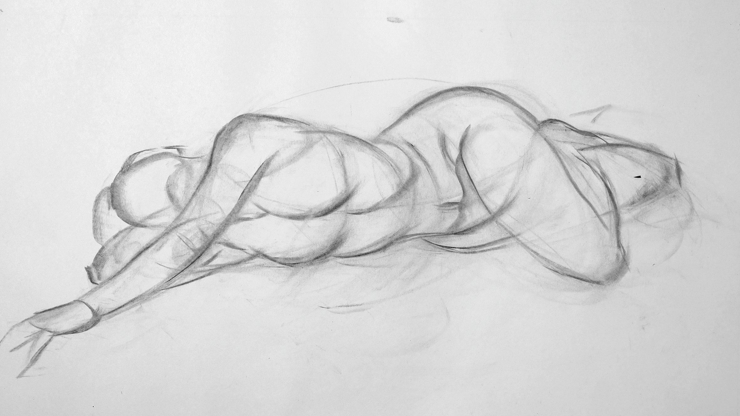 Roughly drawn nude female figure